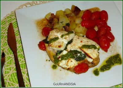 image-Blancs de poulet basilic-feta et tomates cerises au four