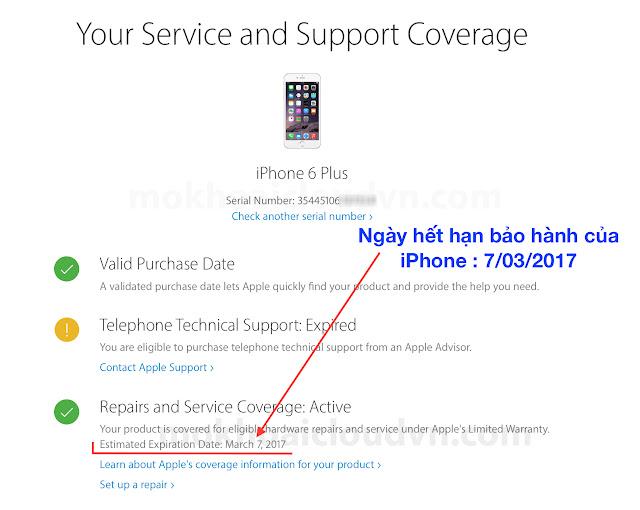 iPhone còn thời hạn bảo hành phần cứng