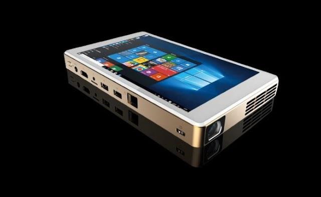 Veja o Onenuts T1 que é um misto de tablet e  projetor embutido com Windows 10