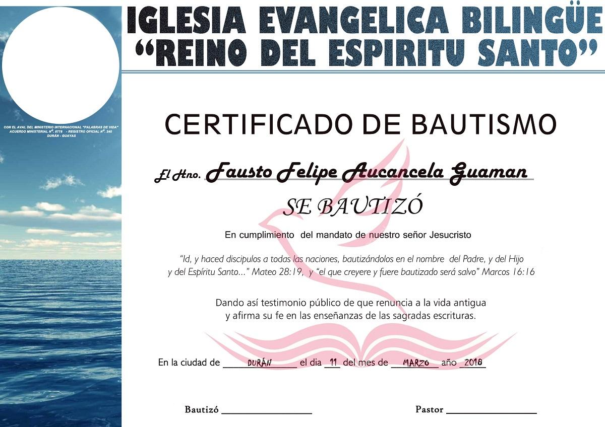 Certificado de bautismo en agua plantilla psd Graficos Global