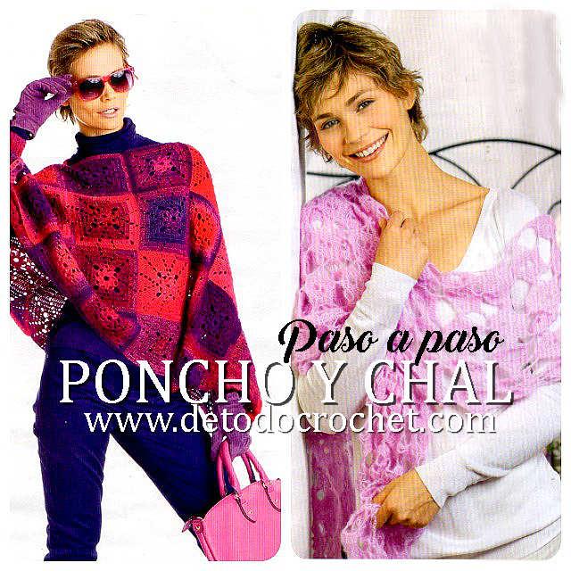 poncho y chal tejidos al crochet con paso a paso y moldes