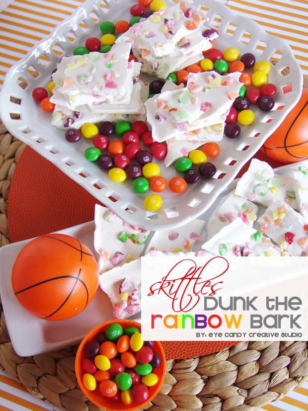 skittles recipe, dunk the rainbow bark, dessert idea, basketball party