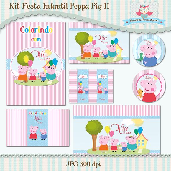 Peppa Pig, arte digital, kit festa digital, arte digital, festa, infantil, personalizados, rosa, azul, caderno de colorir, tags, rótulos, giz de cera, bis