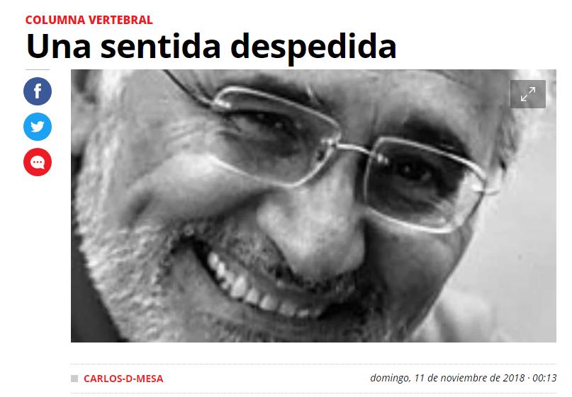 Foto característica de Mesa para su columna publicada en Página Siete, El Deber, Los Tiempos y El País de España / WEB