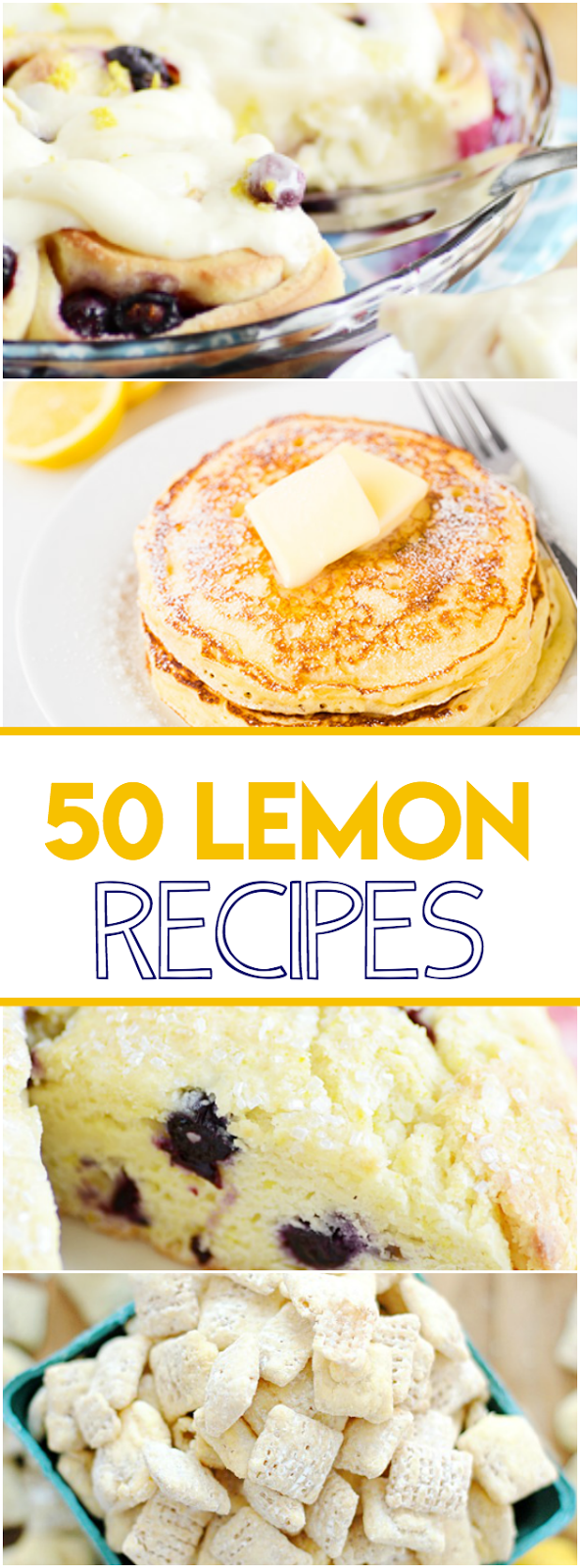 More than 50 fabulous lemon recipes including Lemon Blueberry Sweet Rolls, Lemon Cheesecake, and Lemon Poppyseed Pancakes!