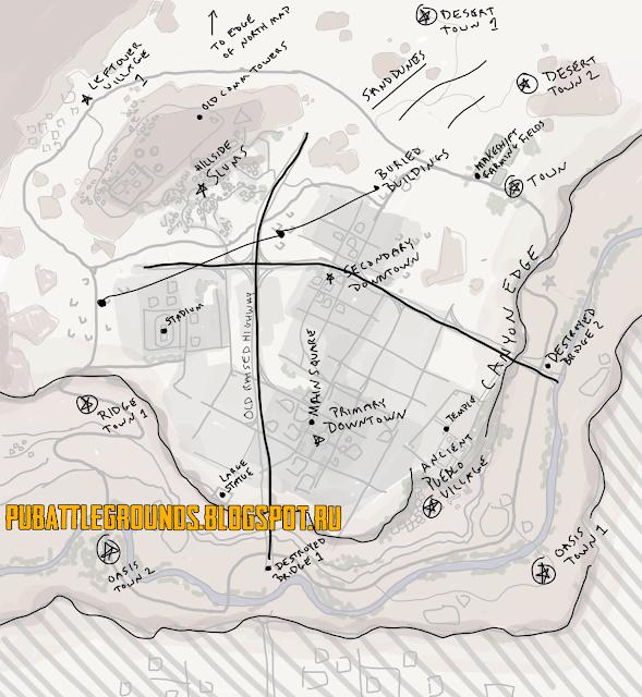 карта в пустынном город
