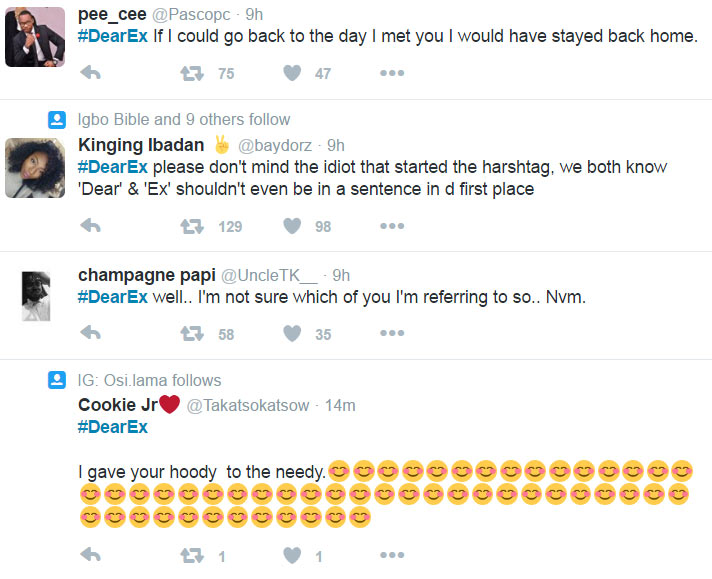 #DearEx trends on Twitter as people pour out emotions to ex-lovers