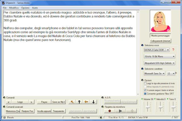 DSpeech interfaccia programma per leggere testo con voce SAPI Windows