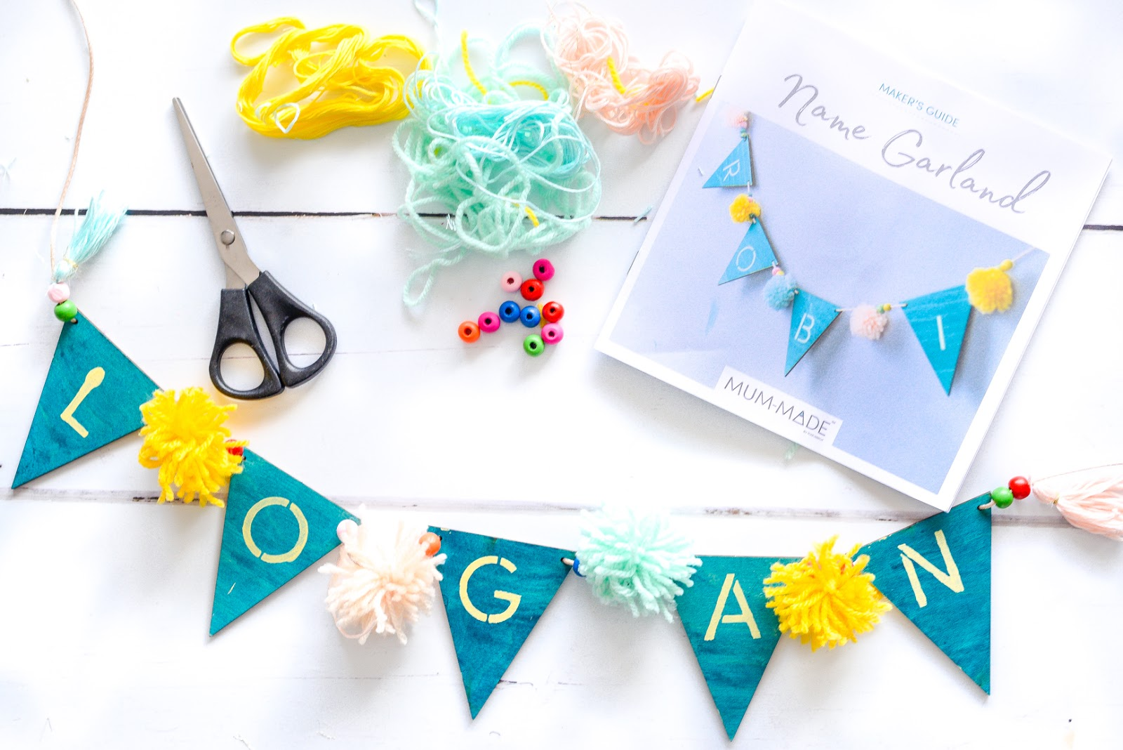 Name Garland, MUM-MADE review, MUM-MADE craft, DIY nursery decorations, DIY baby keepsakes