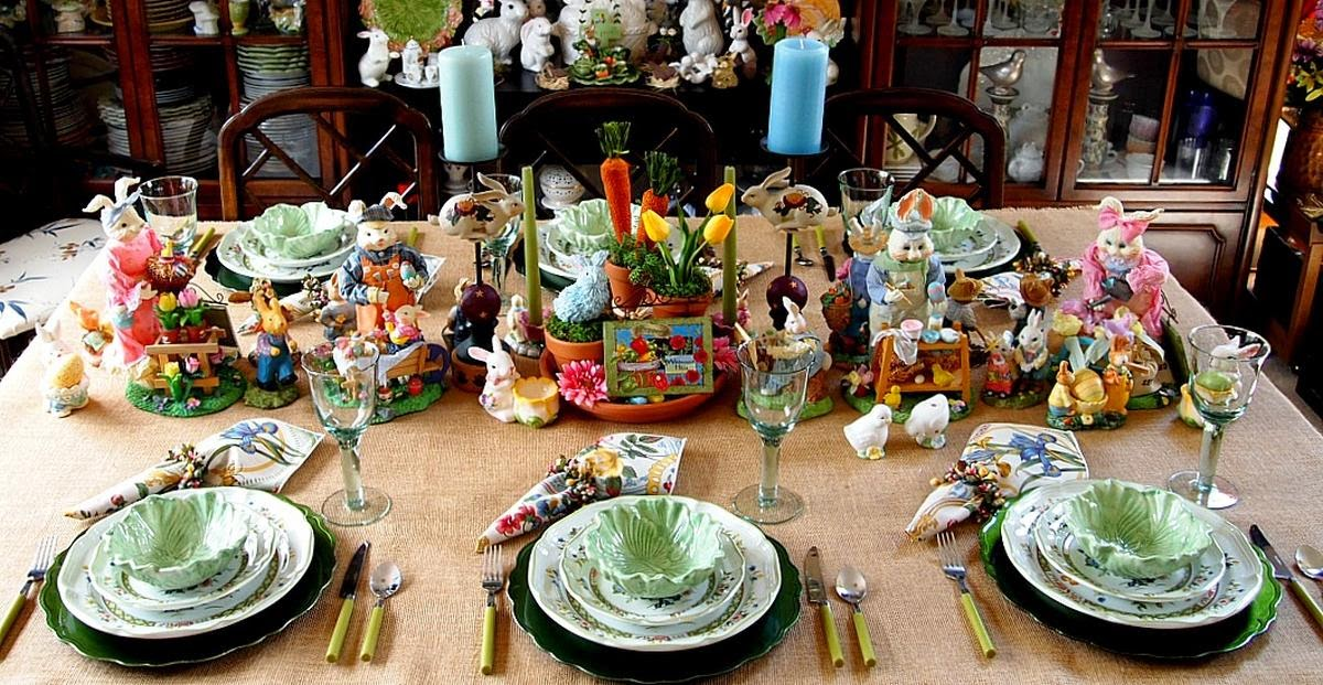 Spring, Easter, tablescape, Mikasa Imari Bouquet, bunnies, burlap, clay pot art, ceramics, cabbage bowls,