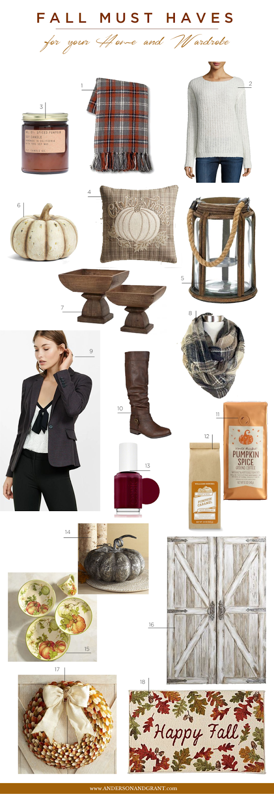Something about the fall season puts me in the mood to shop, whether it is for decor to decorate the house, clothing to wear, or things like soap and coffee in pumpkin scents and flavors.  Find out everything on my must have shopping list this autumn.  |  www.andersonandgrant.com