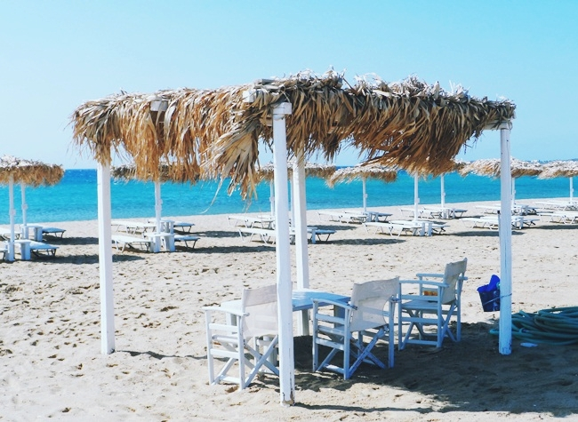 Golden beach Paros island, beach bars and restaurants