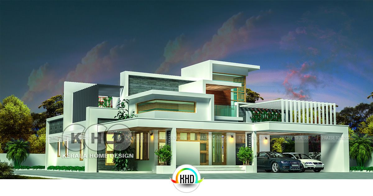 5 bedroom flat roof contemporary home in 2832 sq ft kerala home rh bloglovin com  flat roof contemporary house plans