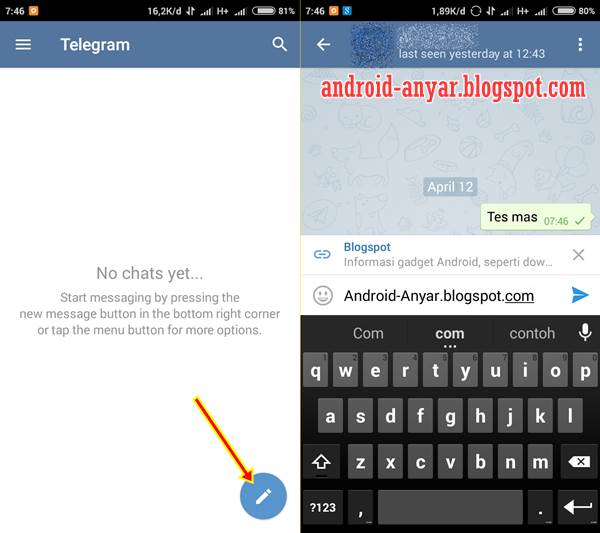 Cara Chatting dengan Aplikasi Telegram for Android