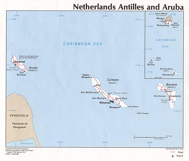 Kaart Nederlandse Antillen Kaart Nederlandse Antillen Aruba