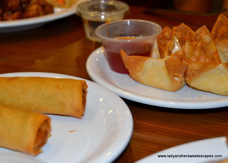 veggie spring rolls and cream cheese rangoons