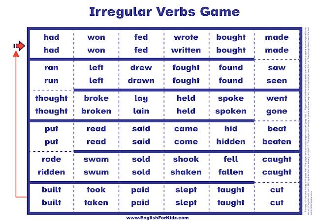 Printable irregular verbs board game