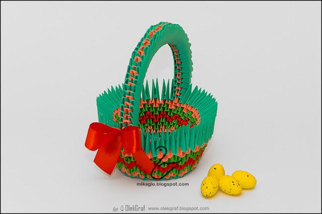 384. Koszyczek na Wielkanoc / Modular origami Easter basket