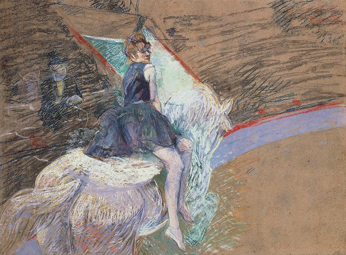 At the Cirque Fernando, Rider on a White Horse by Henri de Toulouse-Lautrec