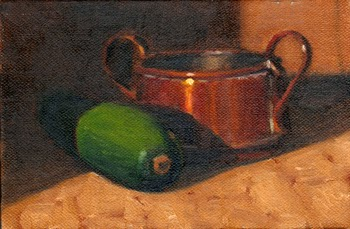 Oil painting of a green zucchini beside a small copper pot with two handles.
