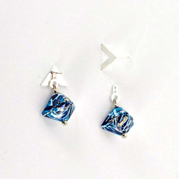 origami bead earring pair in blue shades with silver findings