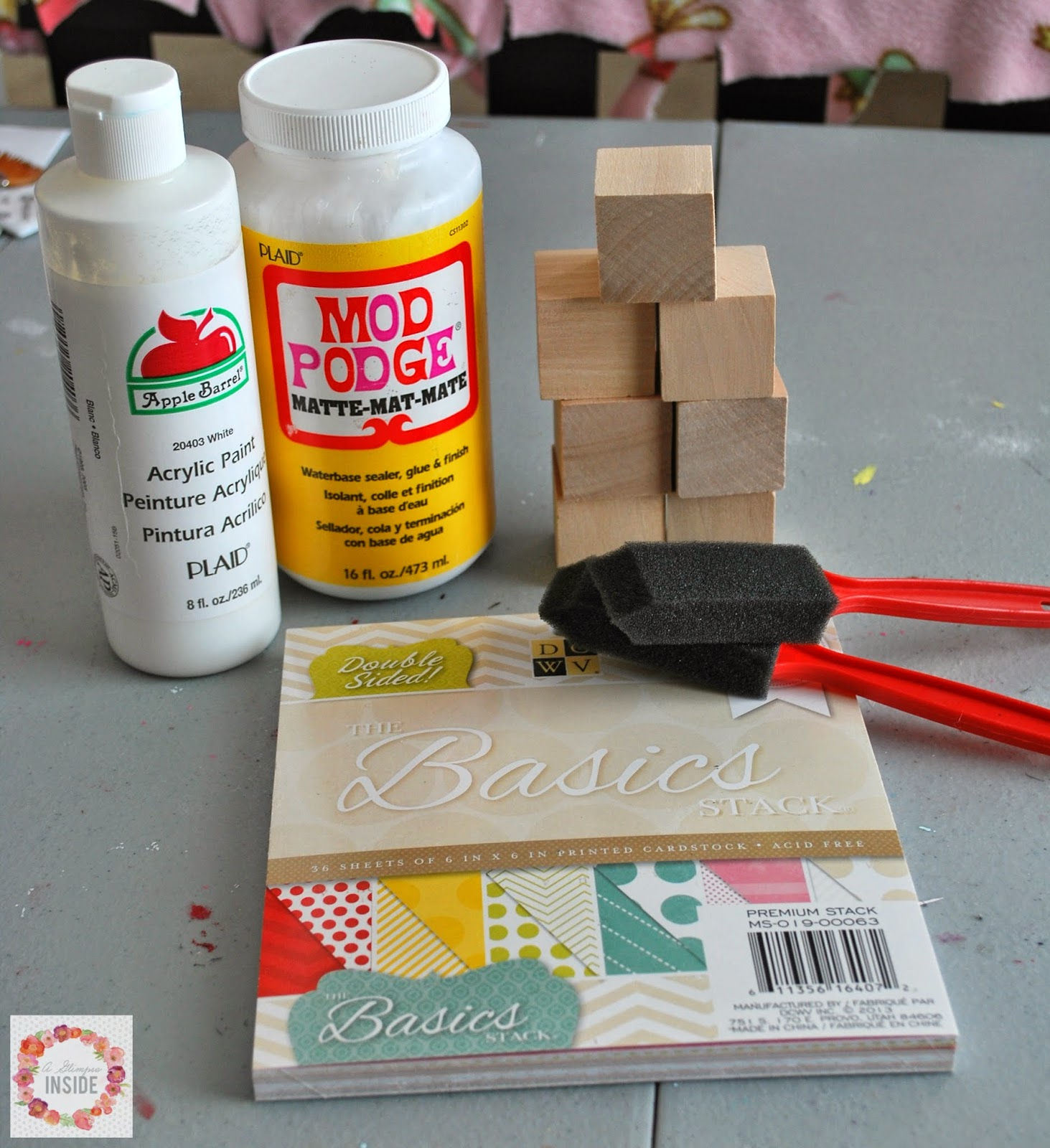 DIY alphabet blocks supplies