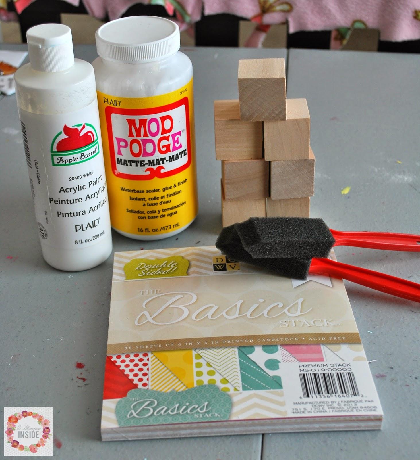 DIY alphabet blocks supplies