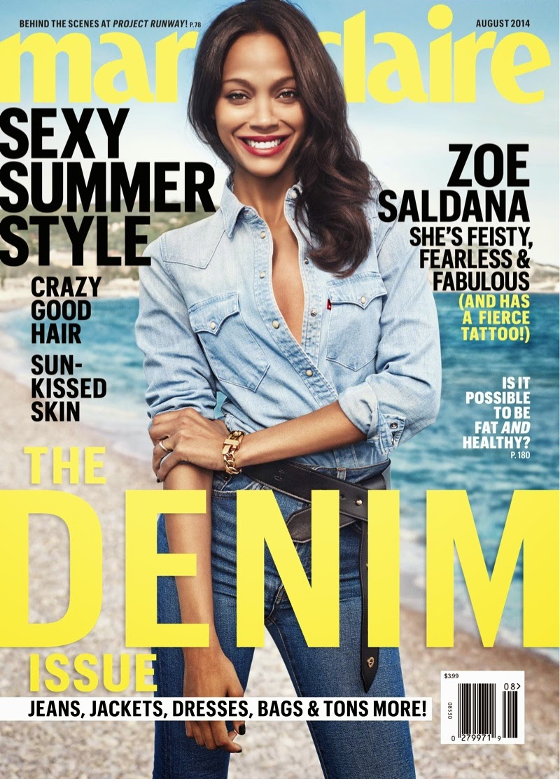 Zoe Saldana features as the Maire Claire US August 2014 cover star