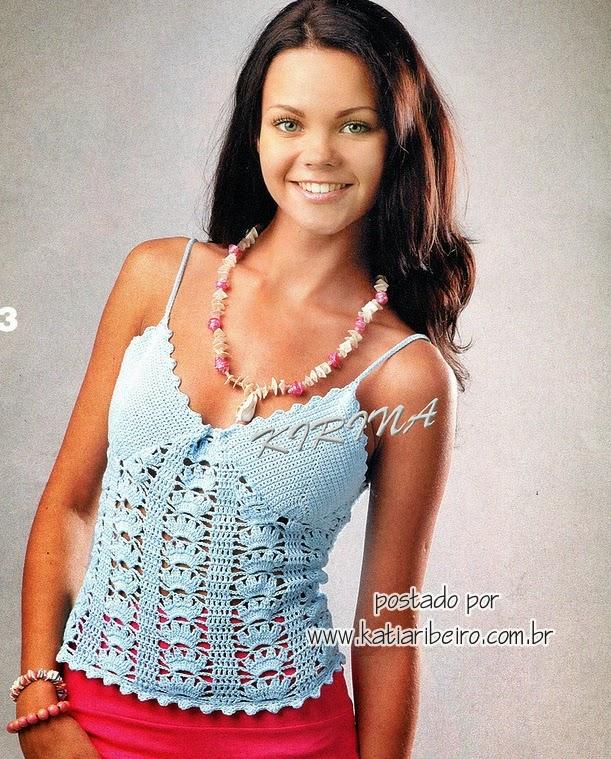 5437f0bd6acd0 Cropped top - Top em crochê com gráfico - Katia Ribeiro Crochê Moda e  Decoração