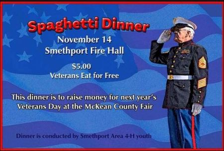 11-14 Spaghetti Dinner, Smethport Fire Hall