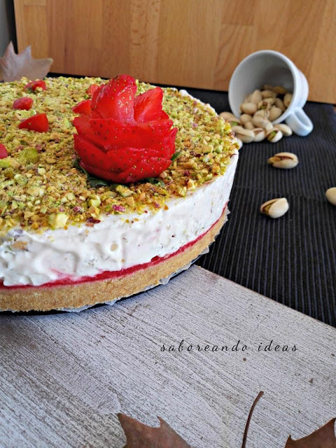 cheesecake de pistachos - saboreando ideas