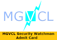 MGVCL Security Watchman Admit Card
