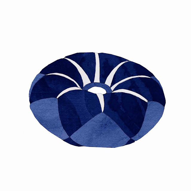 azulejo, cerámica azul, rodete
