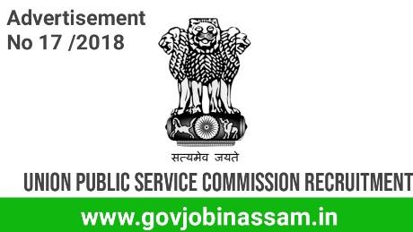 UPSC Recruitment 2018 ,govjobinassam