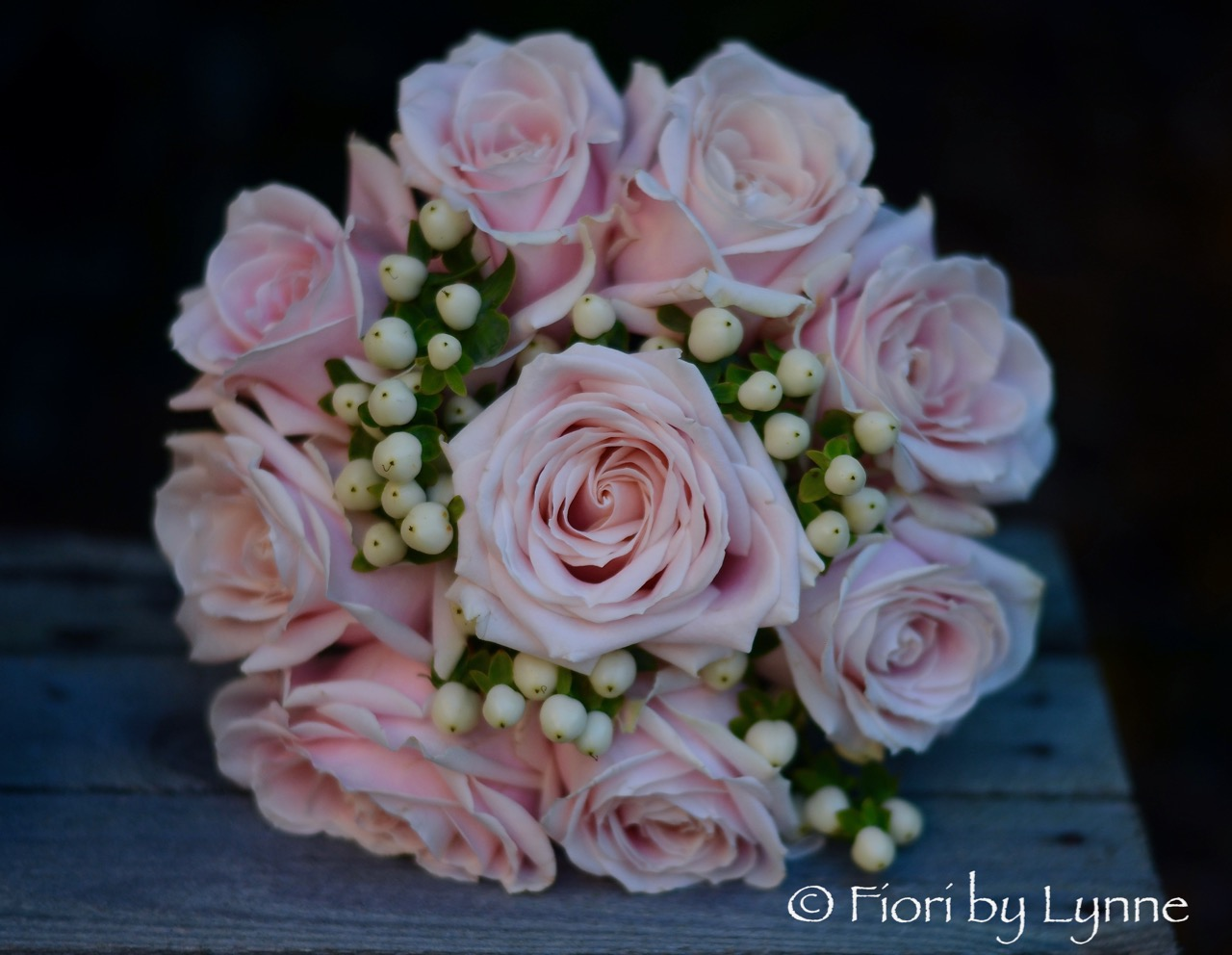 Wedding flowers blog bridesmaids carried pretty bouquets of pale pink roses and white hypericum berry very simple and perfect for this october wedding mightylinksfo Choice Image
