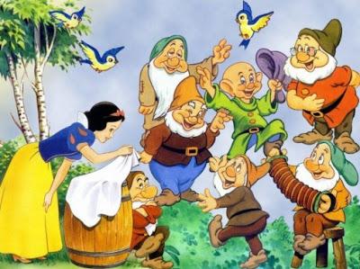 Dibujo de Blancanieves con los 7 enanos en el bosque