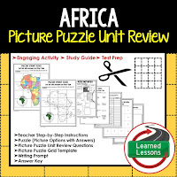 Africa, World Geography Picture Puzzle BUNDLE, Test Prep, Unit Review, Study Guide