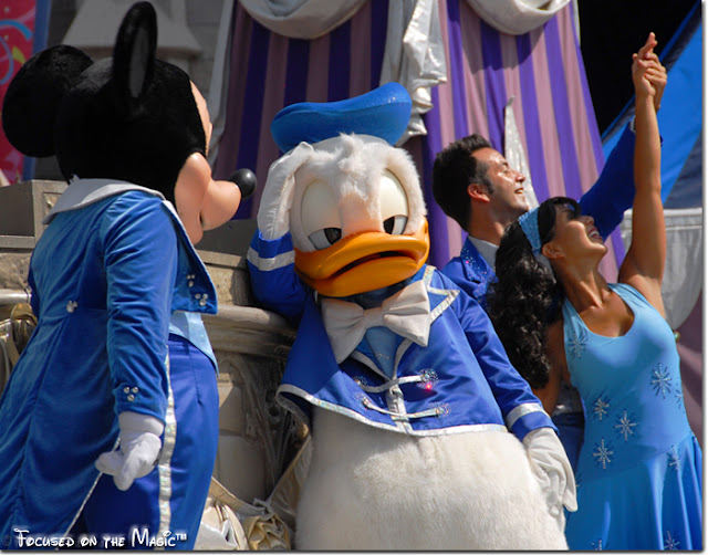 Donald and Mickey in the Castle Court Stage Show