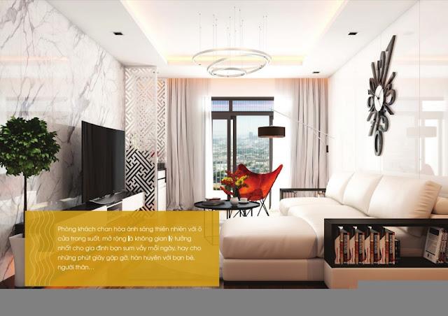 Thiết kế phòng khách chung cư The Golden An Khánh