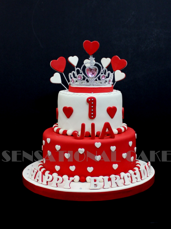 The Sensational Cakes PRINCESS TIARA CAKE SINGAPORE HEART RED