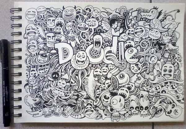 aku akan menambahkan ide bagi teman pecinta doodle art 12 Contoh Gambar Doodle Art Monster Keren