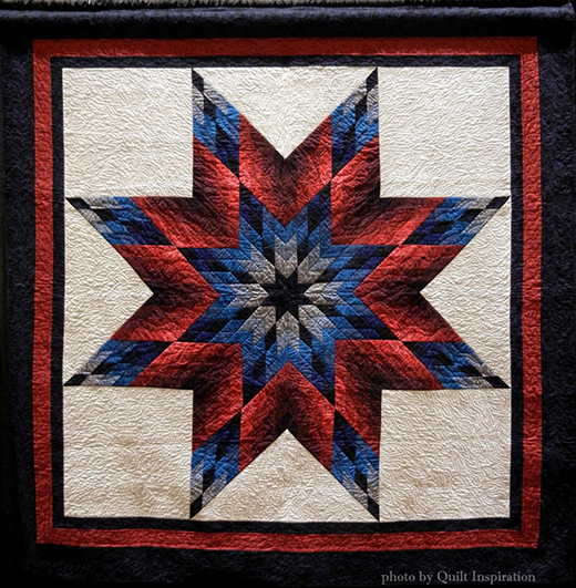 Lone Star Large Lap Quilt pieced by Jill Scherer, quilted by Jackie Smith, The Tutorial by Laura Stone Roberts