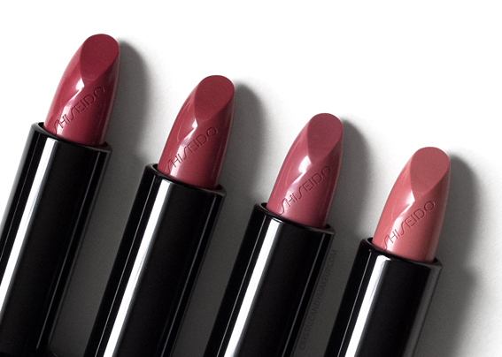 Shiseido Rouge Rouge Lipsticks Review Red Queen Rose Crush Sweet Desire Hushed Tones