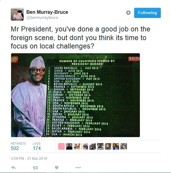 Senator Ben Murray-Bruce Releases List of Countries Visited by Buhari in 10 Months