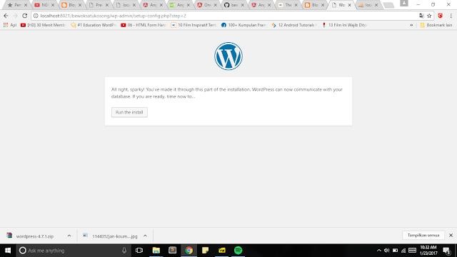 Klik run the install untuk melajutkan instalasi pada wordpress