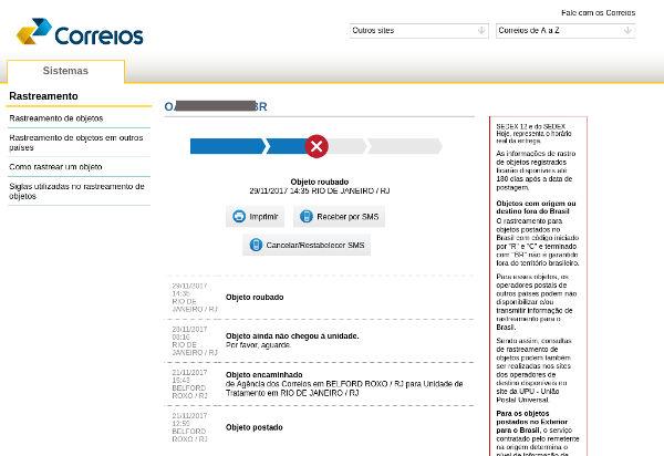 Status Objeto roubado encomenda Correios