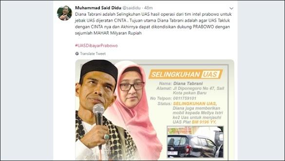 Kurang Ajar! Akun Twitter Said Didu Diretas Usai Debat, UAS Difitnah Selingkuh