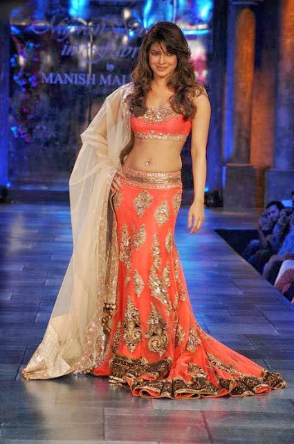 Bollywood Actress Priyanka Chopra Orange/Peach Crepe Silk Designer Lehenga Choli at Mijwan
