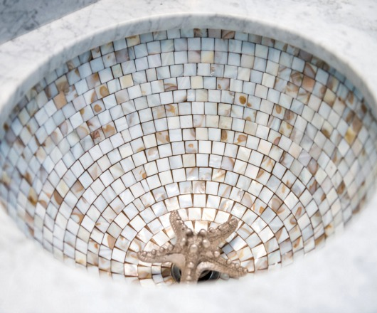 Tile Sink with Decorative Drain Cover